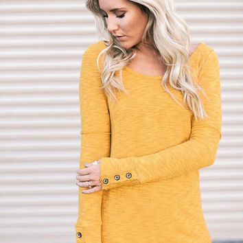Button Cuff Long Sleeved Shirt in Mustard