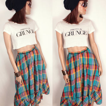 vintage plaid prairie skirt // tiered // full circle
