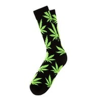 HUF | GLOW IN THE DARK PLANTLIFE CREW SOCK // BLACK SP14