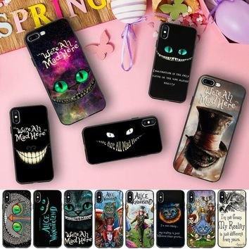 Alice in Wonderland Cheshire Cat Case Soft Silicone Phone Fundas Capinha for iPhone X 5 S 5S XR XS Max 6 6S 7 8 Plus Cover