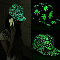 Tmalltide Funny Light In The Dark Night Luminous Glow Snapback Baseball Hip-Hop Cap Hat (Eyes graffiti)