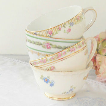 Vintage Cottage Chic Mismatched Tea Cups, Set of 4, Shabby Chic, French Country, Mid Century,Wedding Bridal