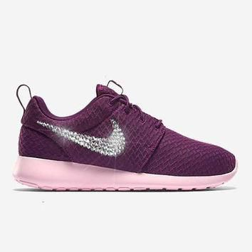 Women's Mulberry Red Blinged Nikes, Bling Roshe Running Training Shoes Customized With