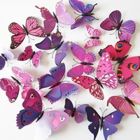 12 Piece 3D DIY Butterfly Wall Stickers