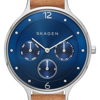 Women's Skagen 'Anita' Crystal Marker Chronograph Leather Strap Watch, 36mm