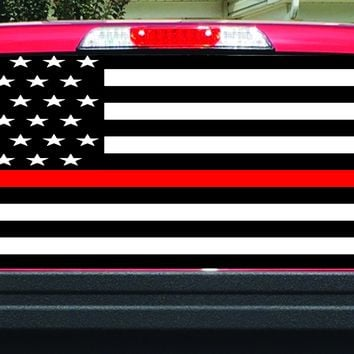 Thin Red Line Firefighter Rear Window Decal