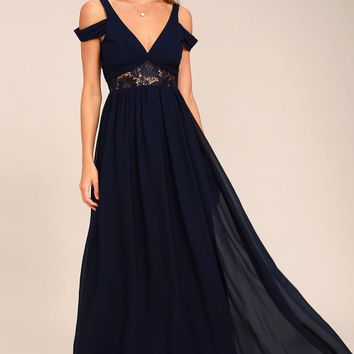 Have This Dance Navy Blue Lace Off-the-Shoulder Maxi Dress