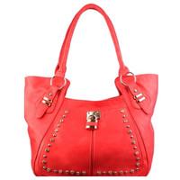 Fashionable Stud with Lock Accented Deep Coral Shoulder Bag, Purse, Women's Accessories