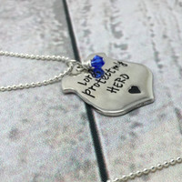 Lord Protect My Hero Hand Stamped Jewelry Police Officer Blessed Are The Peacemakers Badge Military Blessing Prayer