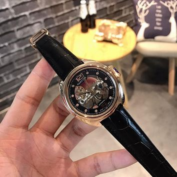 PEAP C006 Cartier Key Hollow Automatic Machinery Leather Watchand Watches Black Rose Gold