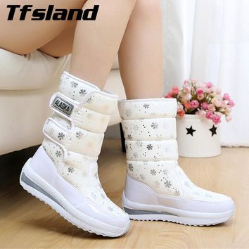 Women's Waterproof Snow Boots Snowflake Cotton Super Warm Sneakers Women Winter Platform Ankle Shoes Snowboarding & Skiing Shoes