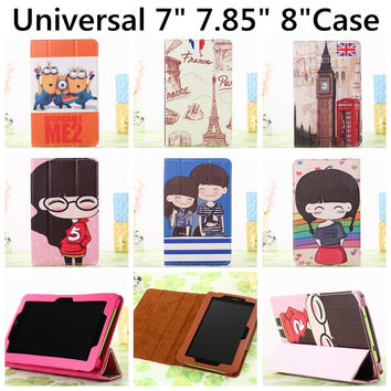 Big Ben Despicable Me Minions Cartoon PU Leather Flip Stand Cover Case Universal 7 inch  8 inch For iPad Mini Tablet