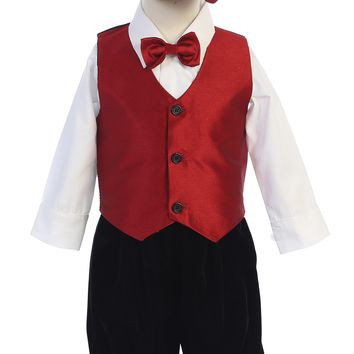 Boys Red Jacquard Vest & Black Velvet Shorts Set w. Hat 3m-5