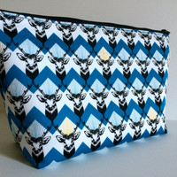 Extra Large Cosmetic Case Toiletry Bag Travel Bag Makeup Bag in Chevron Stag