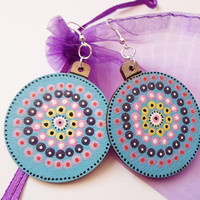 Unique OOAK Earrings, Handpainted Mandala Dot art Earrings Jewelry, Hippie Blue Boho Yoga earrings Jewelry, Spiritual Meditation Zen jewelry