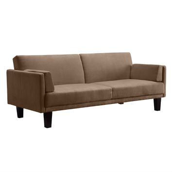 Modern Tan Microfiber Upholstered Futon Style Sleeper Sofa Bed