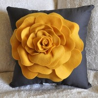 Rose Pillow Mustard Yellow on Grey 14 X 14