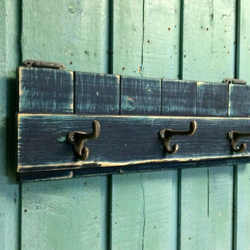 Coat Hook Rack Weathered Navy Blue Beach House Decor by CastawaysHall - Ready to Ship