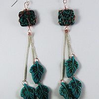 Long Turquoise Earrings, Dangle Turquoise Earrings, Square and Leaf Turquoise Earrings