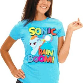 My Little Pony Sonic Rain Boom Juniors Turquoise Blue T-shirt - My Little Pony - Free Shipping on orders over $60 | TV Store Online