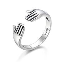 "Turbo 925 Sterling Silver Open Design Finger Ring ""Give me a Hug"" Silver Jewelry Set Adjustable Size"