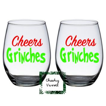 CHEERS GRINCHES Stemless Wine Glasses. Set of 2 Cheers Grinches Wine Glasses 21 oz . Holiday Gifts / couples Gift / Christmas Decor