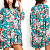 Jade Floral Trapeze Floral Swing Tunic Dress