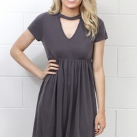 High Neck Keyhole Modal Dress {Grey}