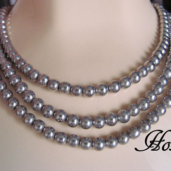 Vintage Hobe Silver Metal Bead Bib Necklace / Strung on Chain / 1960s / Designer Signed / Wedding Bridal / Jewelry / Jewellery
