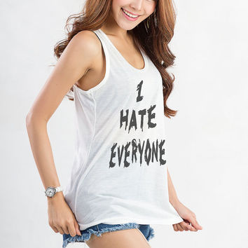 I hate everyone Tank Tops for Women Tunic Racerback Workout Tank Top Fitness Gym Yoga Hipster Tumblr Grunge Teenager Girls Instagram Blog