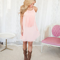 Invest in Me Fringe Dress Peach