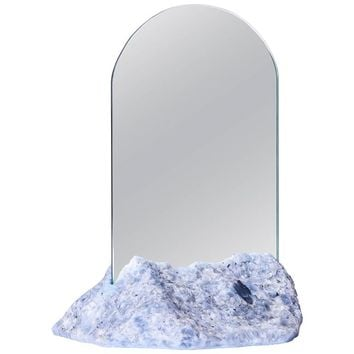 Aura Mirror by Another Human, Contemporary Crystal Vanity Mirror in Blue Calcite