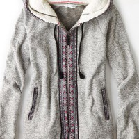 AEO Women's Cozy Knit Hoodie (Medium Heather Grey)