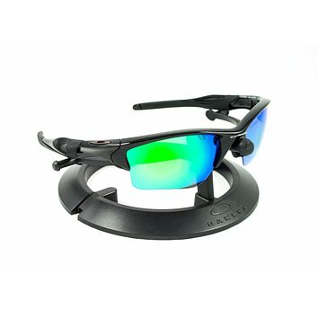 OAKLEY HALF JACKET 2.0 XL POLISHED BLACK FRAME / REVANT GREEN POLARIZED CUSTOM