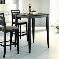 3 Pc. Java Finish Square Bar Table With Open Panel Back And Upholstered Bar Stools