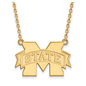 NCAA 14k Yellow Gold Mississippi State Large Pendant Necklace