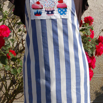OOAK Cup Cake Kitchen Apron, Vintage French Cotton