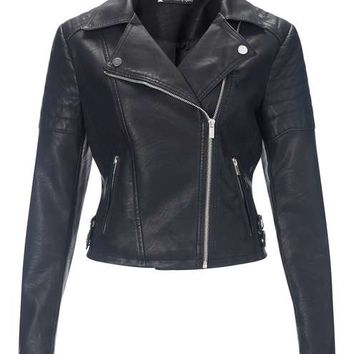 Black Elsy Faux Leather Biker - View All - New In