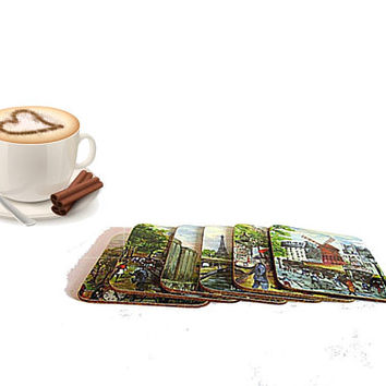 French Paris paintings square cork and plastic vintage coaster set of six.