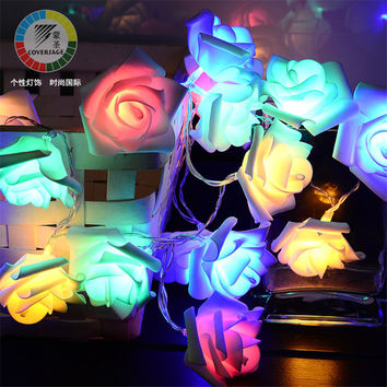 20 Leds Fairy String Lights Battery Lumineuse Rose Flower Wedding Decoration Christmas Indoor Curtain Holiday Luces Navidad