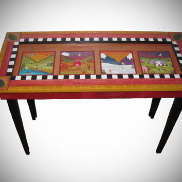 """ENTRYWAY TABLE - wood console table - ready to ship - 40"""" long x 17"""" deep by 30"""" tall - four seasons - handpainted table - sofe table -"""