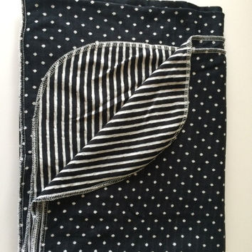 Polka dot swaddle, stripe swaddle, black and white swaddle, reversible swaddle