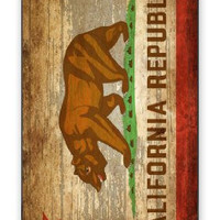 Distressed California State Flag w/Wood Grain Background Image iPhone 5C Quality Hard Snap On Case for iPhone 5C - AT&T Sprint Verizon - White Case