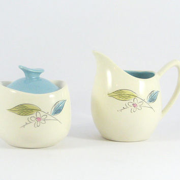 Mid-Century Salem China Biscayne Creamer and Sugar Bowl, Blue Green Pink, Vintage Tea Service