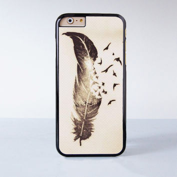 "Feather Tattoo plastic phone case for iPhone 6 (4.7"")  More case style can be selected"