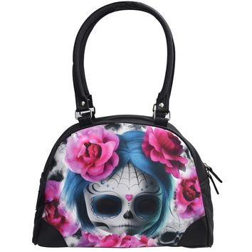 Liquorbrand Goth Emo Dark Dreams Sugar Skull Doll Vegan Bowling Handbag Purse