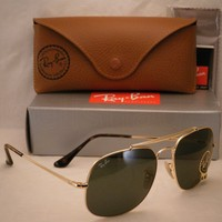 Cheap Ray Ban 3561 Gold w Green Crystal (G-15) Lens NEW sunglasses (RB3561 01) outlet