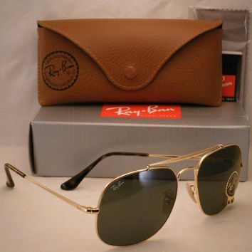 Ray Ban 3561 Gold w Green Crystal (G-15) Lens NEW sunglasses (RB3561 01)