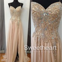 Champagne Chiffon Beaded Long Prom Dresses, Evening Dress from Sweetheart Girl