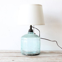 Antique Aqua Glass Jug Lamp